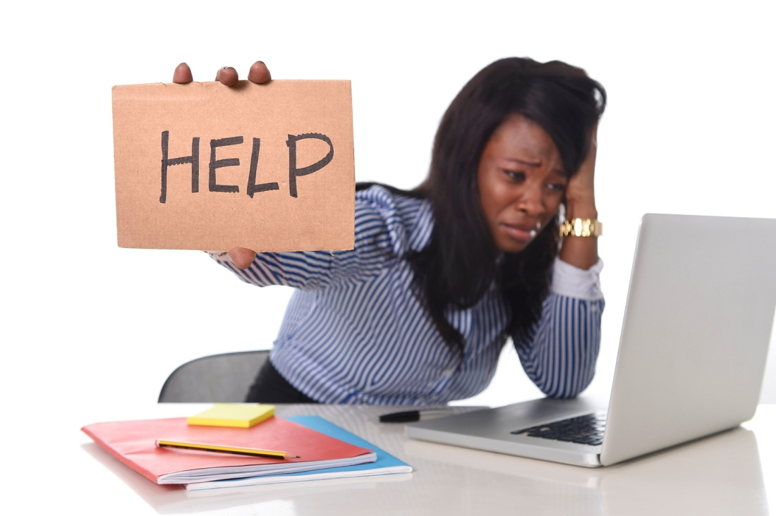 Image: a Stock photograph that depicts a stressed woman in business attire holding a cardboard sign that says help. I think this photo accurately represents how many of us feel when endeavoring to do something without a map.